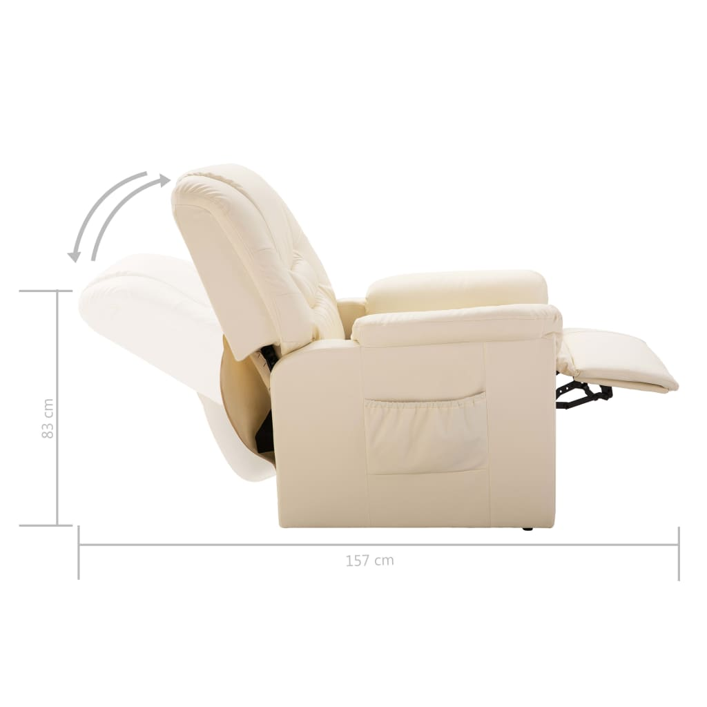 Reclining Chair Cream Faux Leather 9