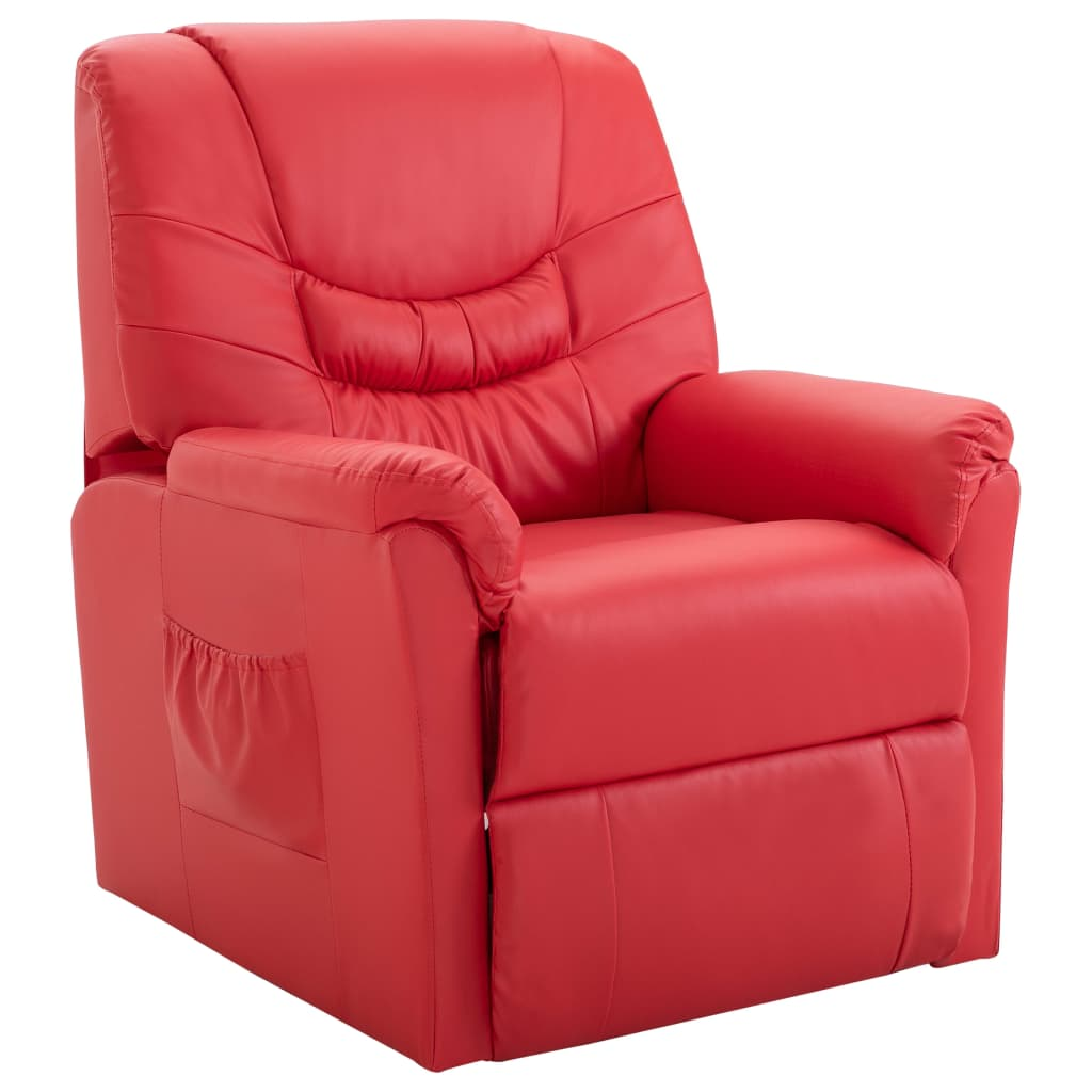 Reclining Chair Red Faux Leather 1
