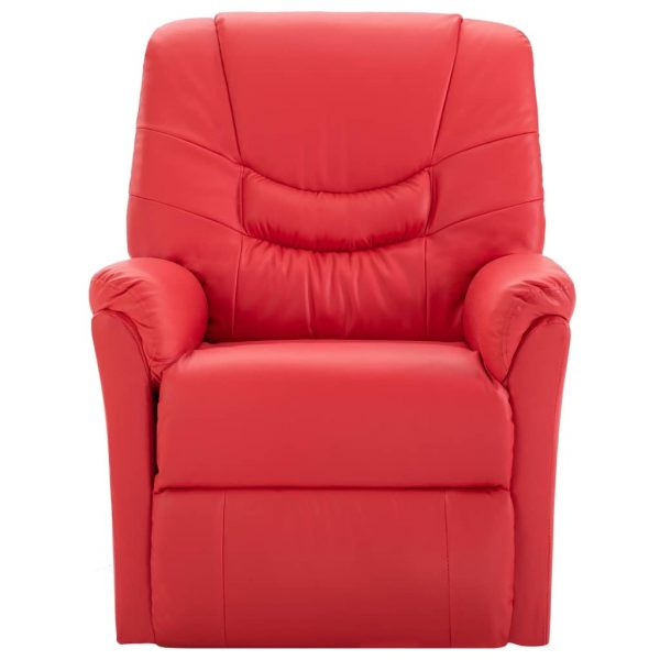 Reclining Chair Red Faux Leather 2