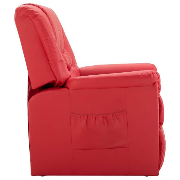Reclining Chair Red Faux Leather 3