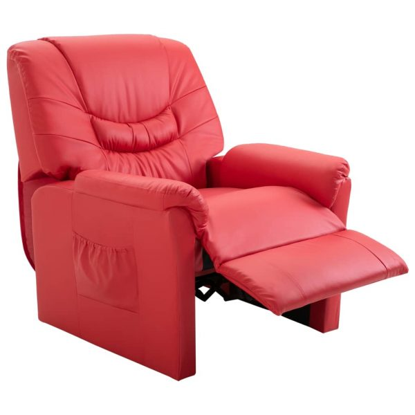 Reclining Chair Red Faux Leather 5