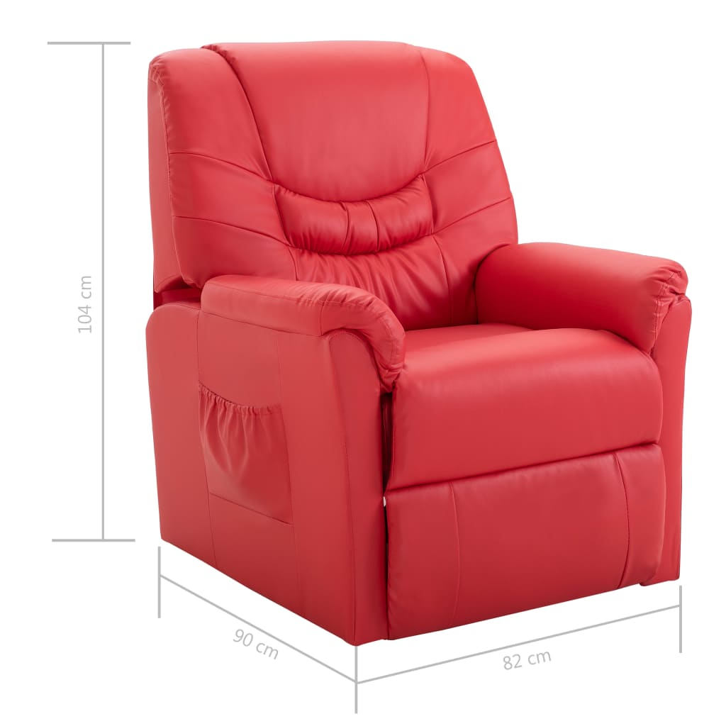 Reclining Chair Red Faux Leather 8