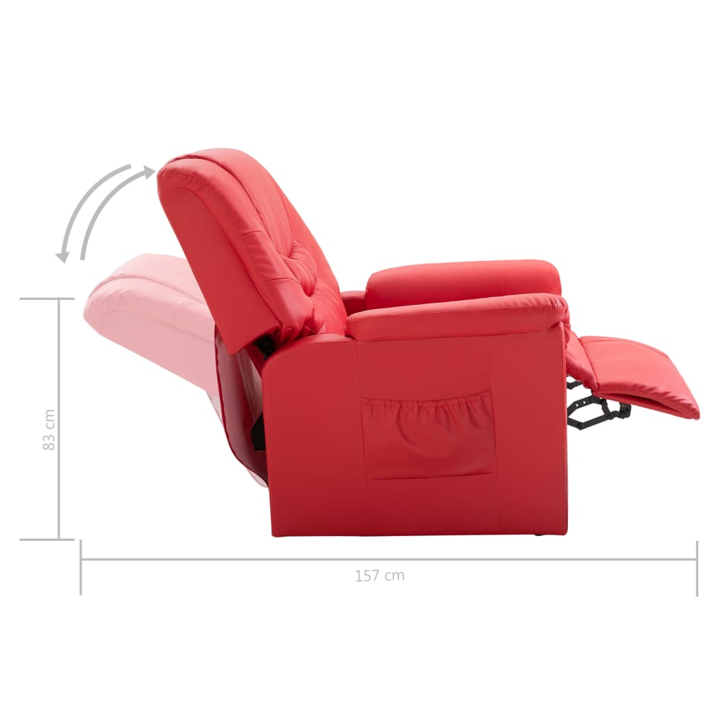 Reclining Chair Red Faux Leather 9