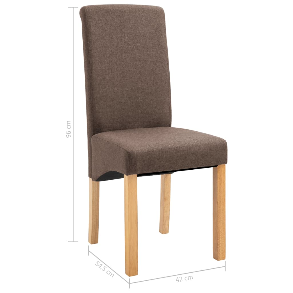 Dining Chairs 2 pcs Brown Fabric 9