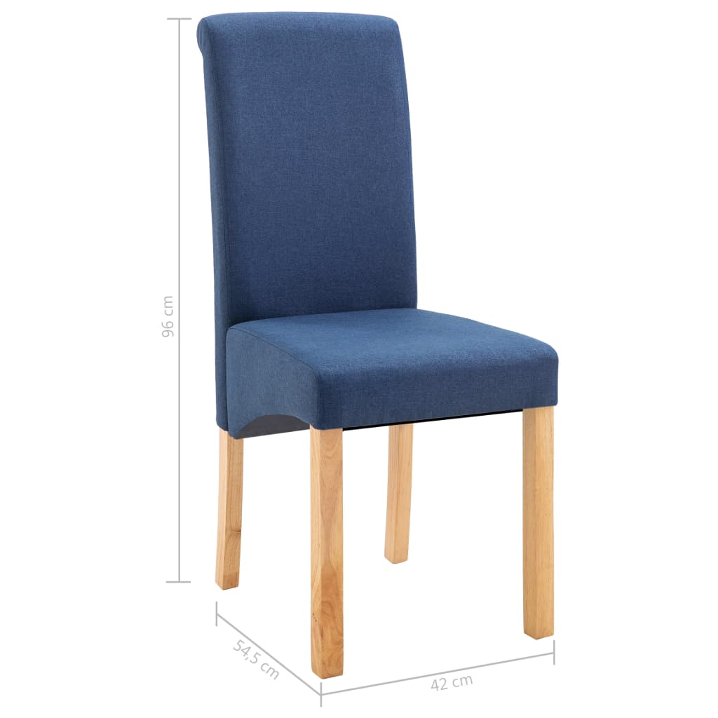 Dining Chairs 2 pcs Blue Fabric 9