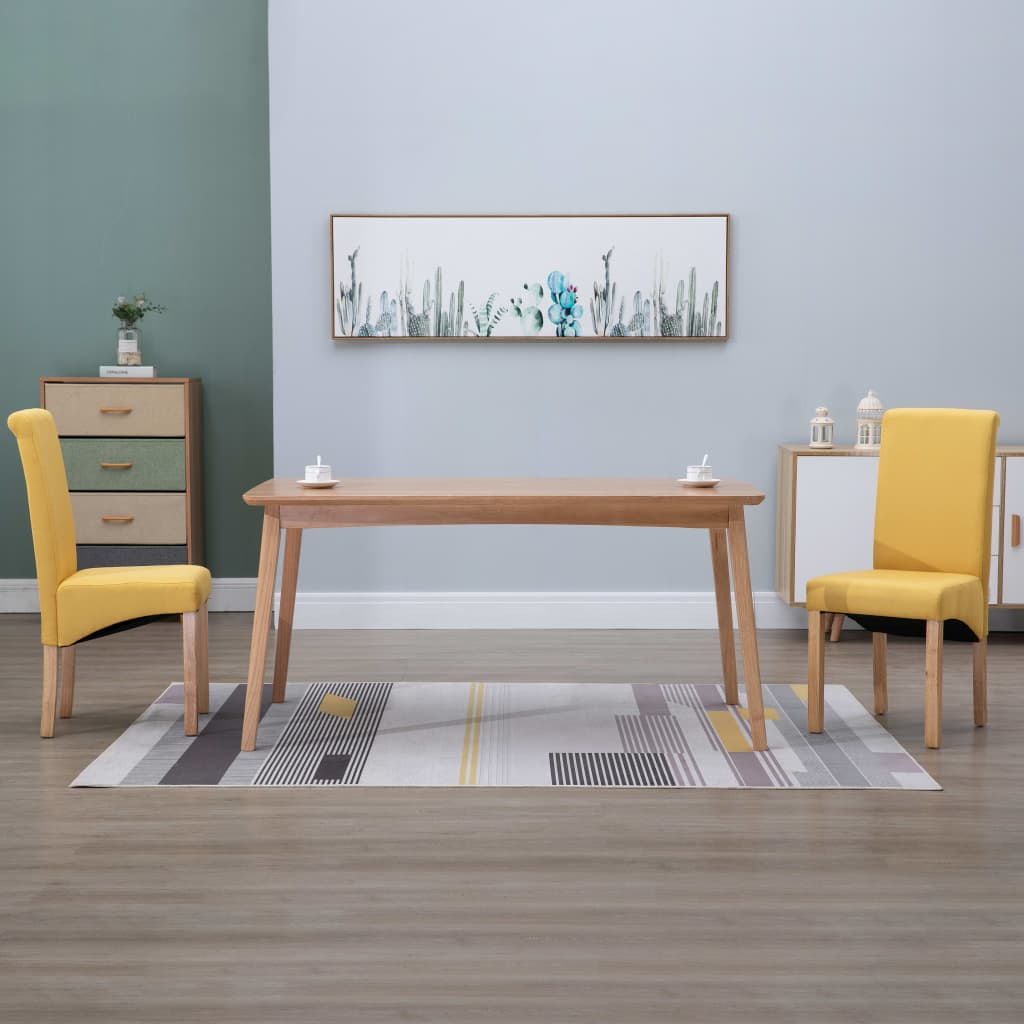 Dining Chairs 2 pcs Yellow Fabric 1
