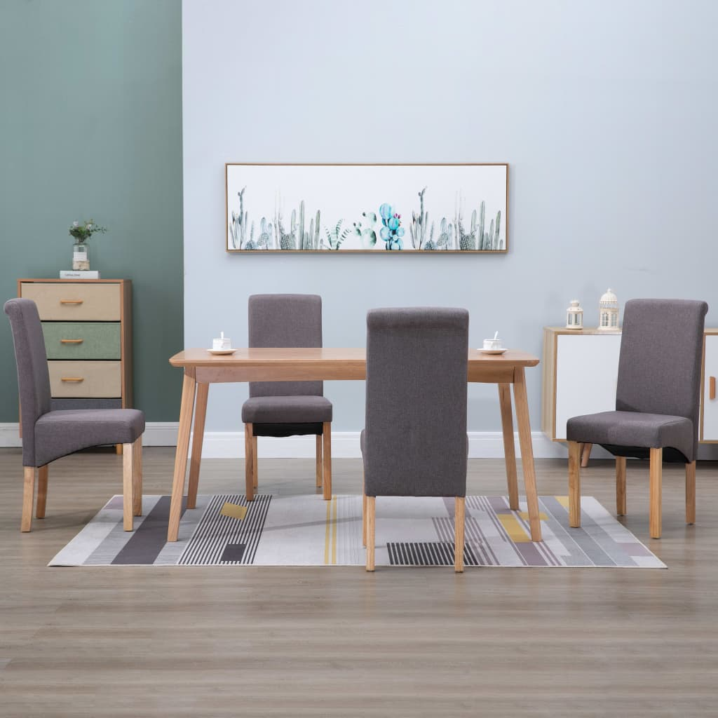 Dining Chairs 4 pcs Taupe Fabric 1