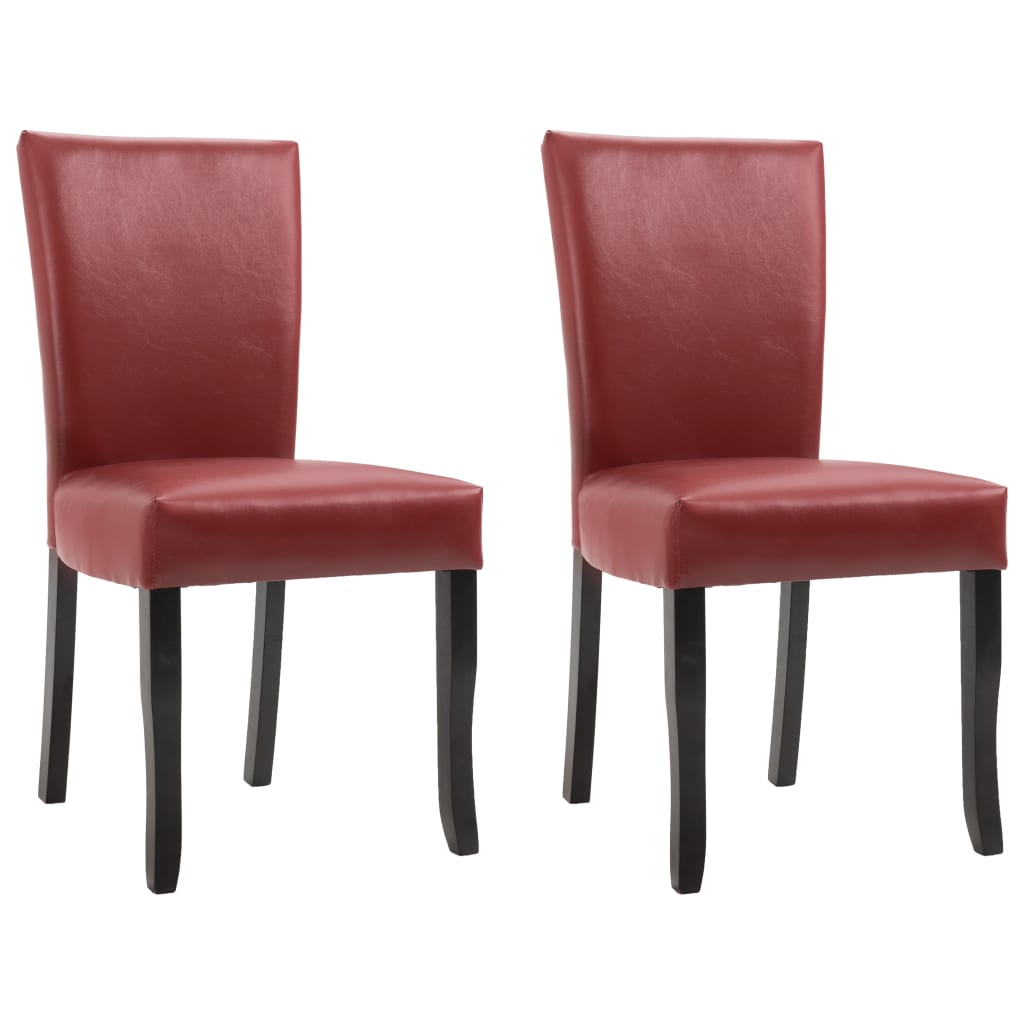Dining Chairs 2 pcs Wine Red Faux Leather