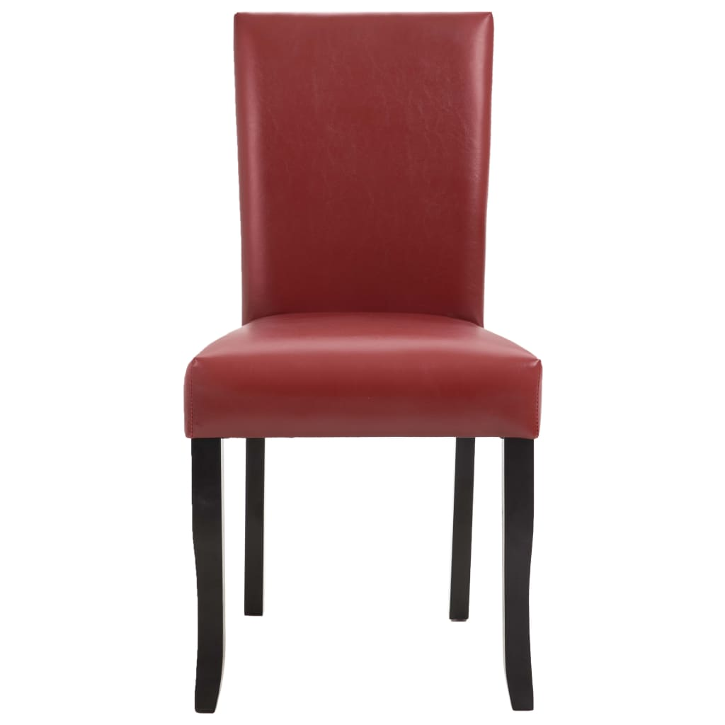 Dining Chairs 2 pcs Wine Red Faux Leather 3