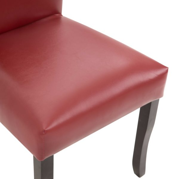 Dining Chairs 2 pcs Wine Red Faux Leather 4