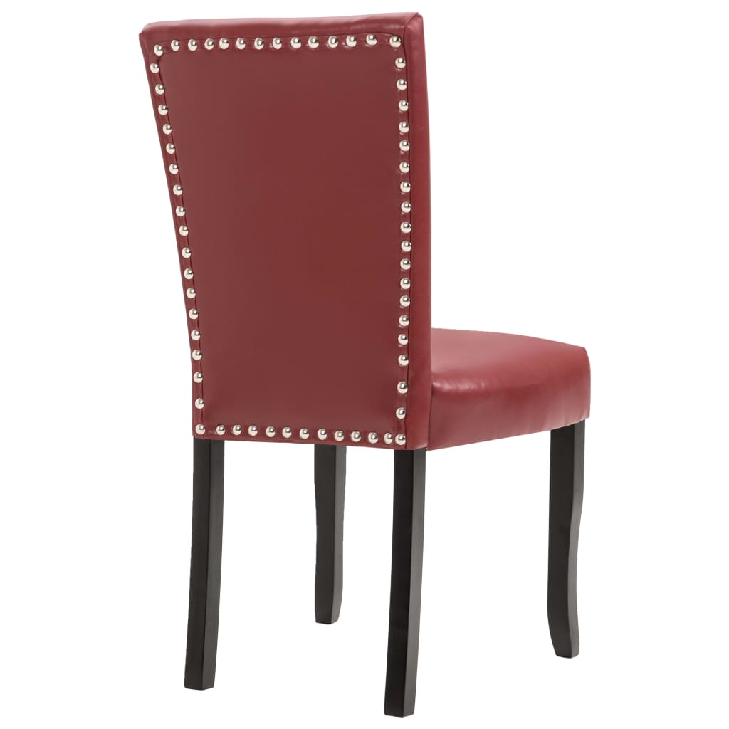 Dining Chairs 2 pcs Wine Red Faux Leather 5