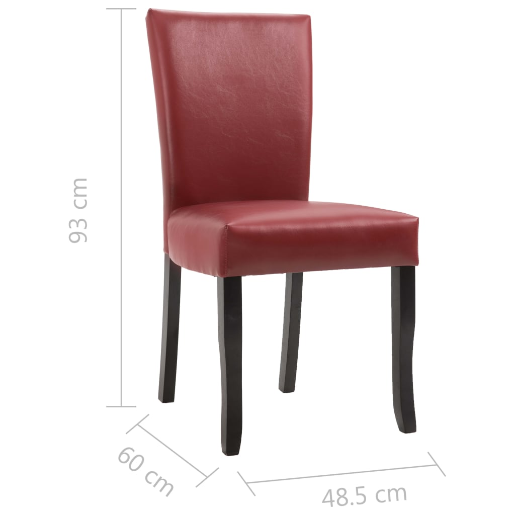 Dining Chairs 2 pcs Wine Red Faux Leather 6