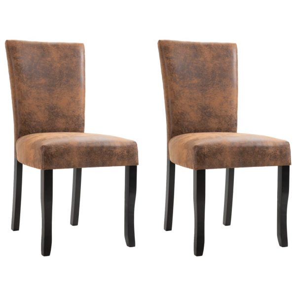 Dining Chairs 2 pcs Brown Faux Suede Leather 1