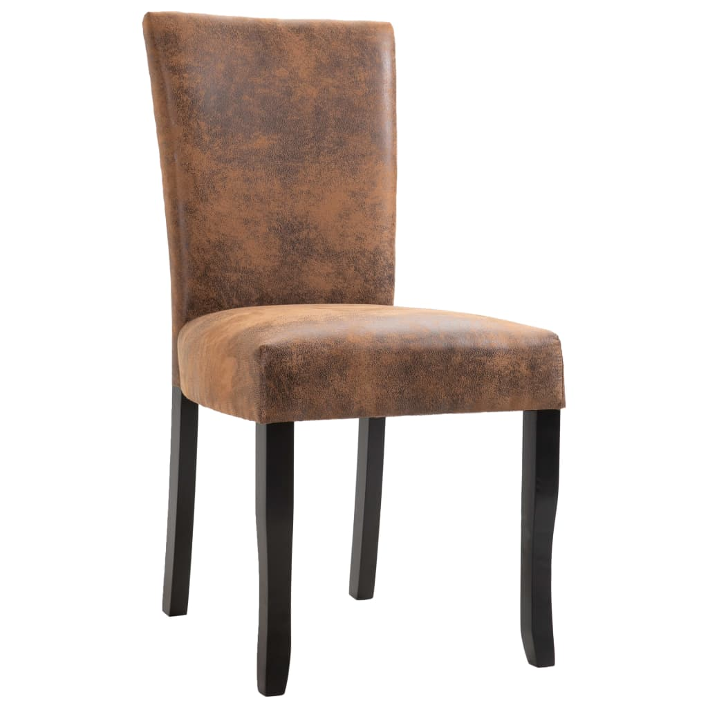 Dining Chairs 2 pcs Brown Faux Suede Leather 3