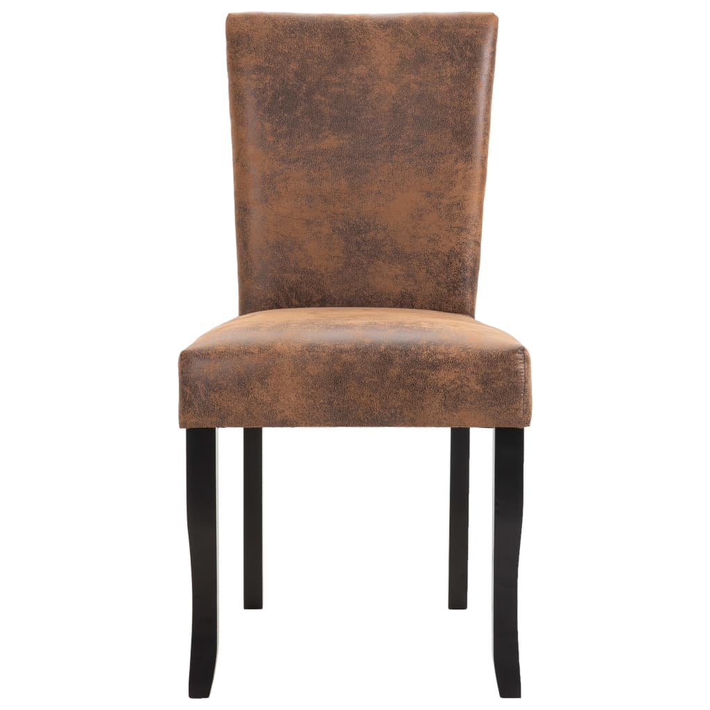 Dining Chairs 2 pcs Brown Faux Suede Leather 4