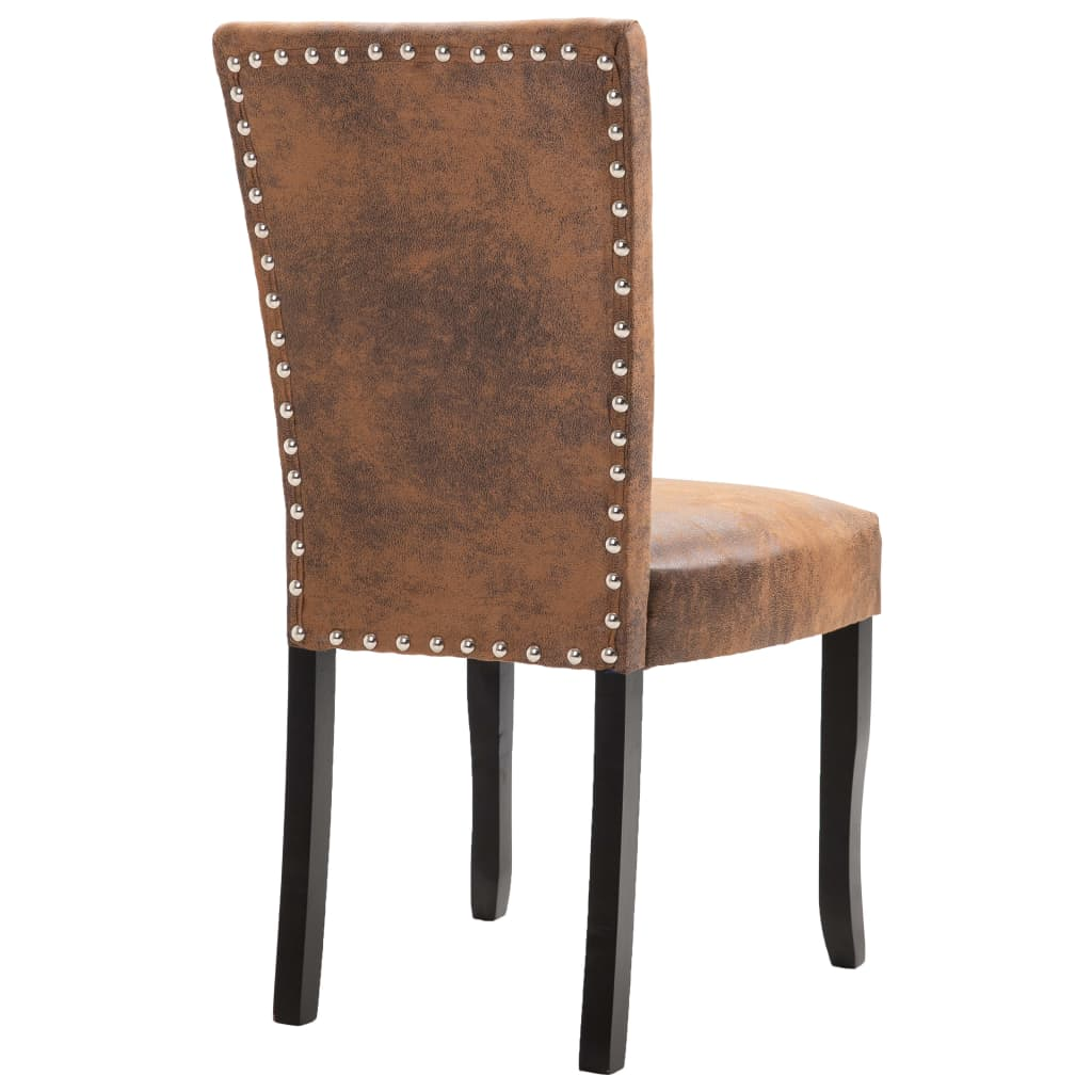 Dining Chairs 2 pcs Brown Faux Suede Leather 6