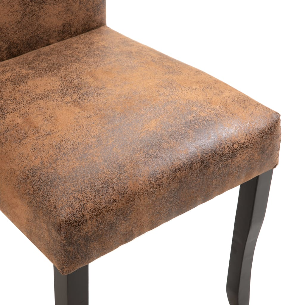 Dining Chairs 2 pcs Brown Faux Suede Leather 7