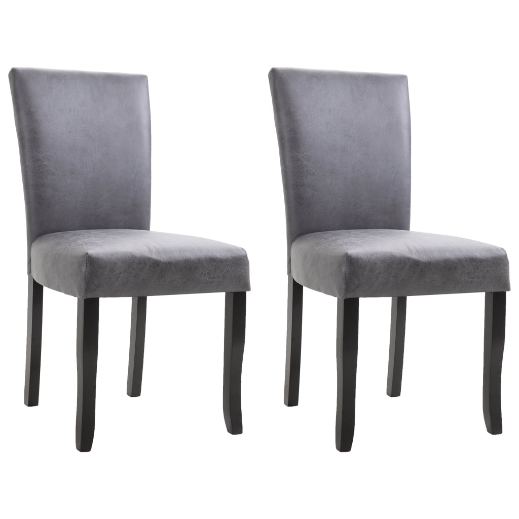 Dining Chairs 2 pcs Grey Faux Suede Leather
