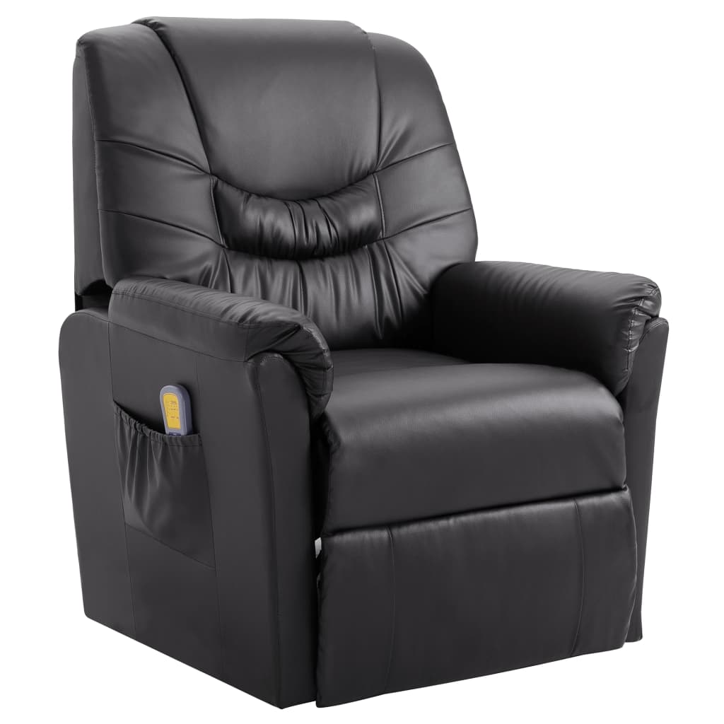Massage Recliner Chair Grey Faux Leather 1