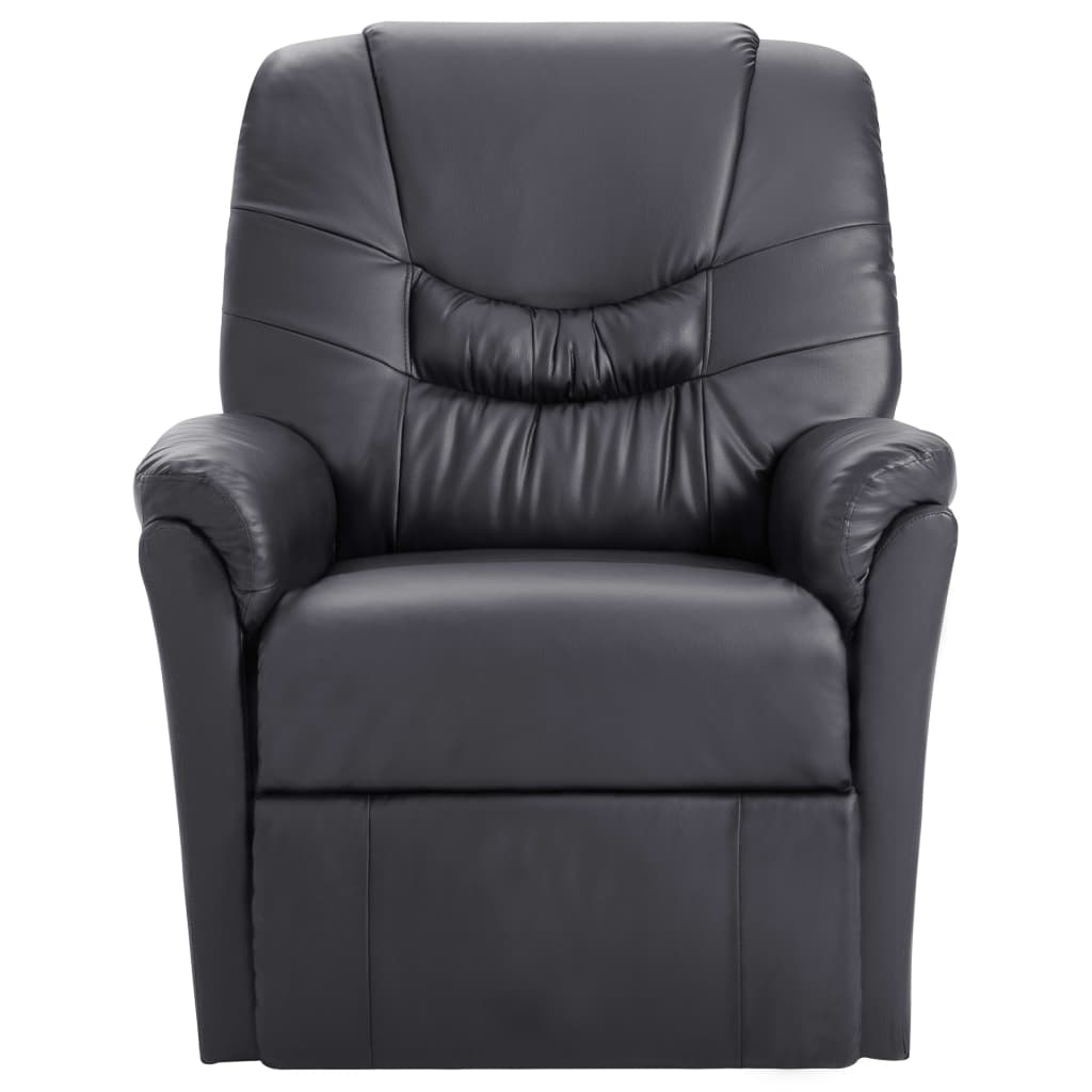 Massage Recliner Chair Grey Faux Leather 2
