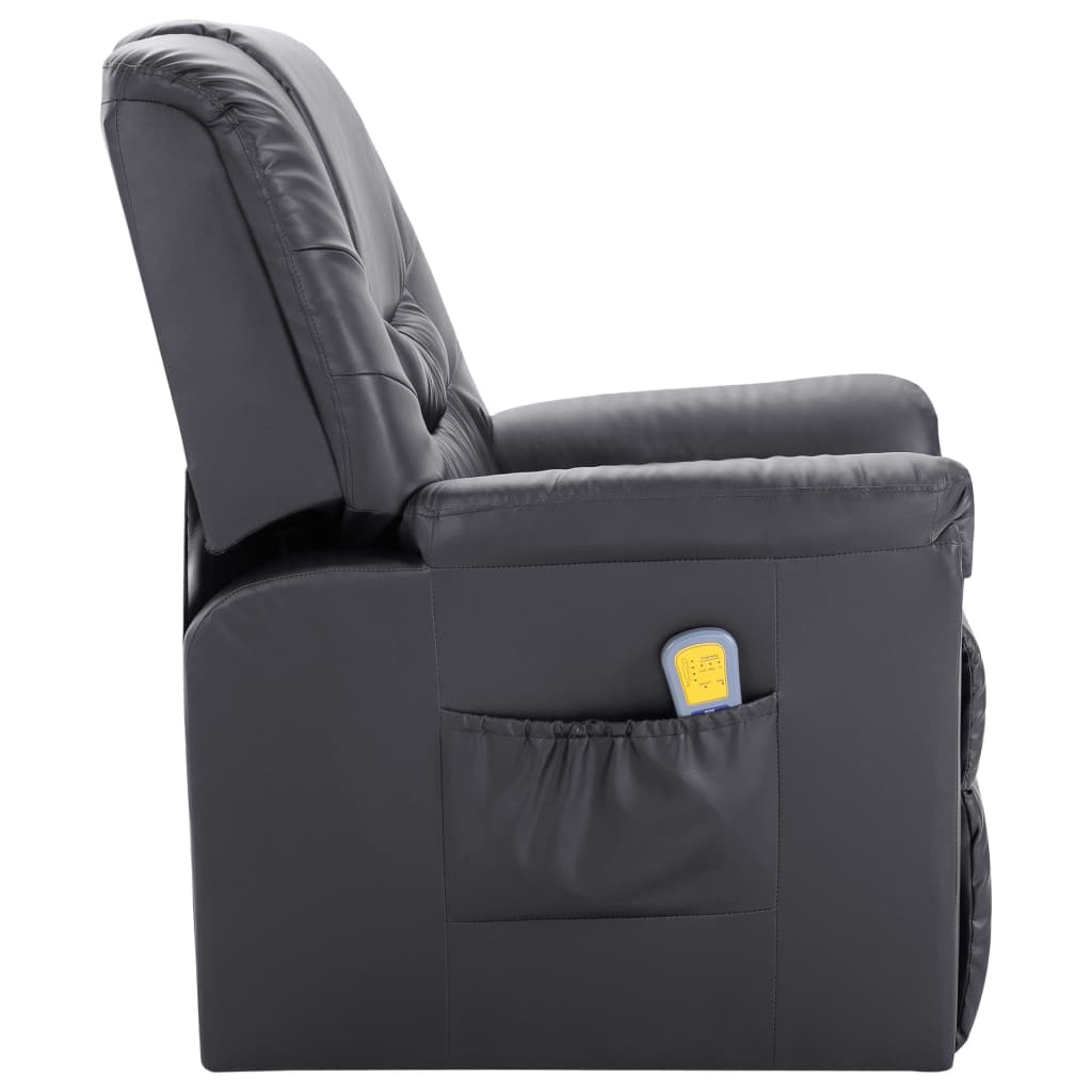 Massage Recliner Chair Grey Faux Leather 3