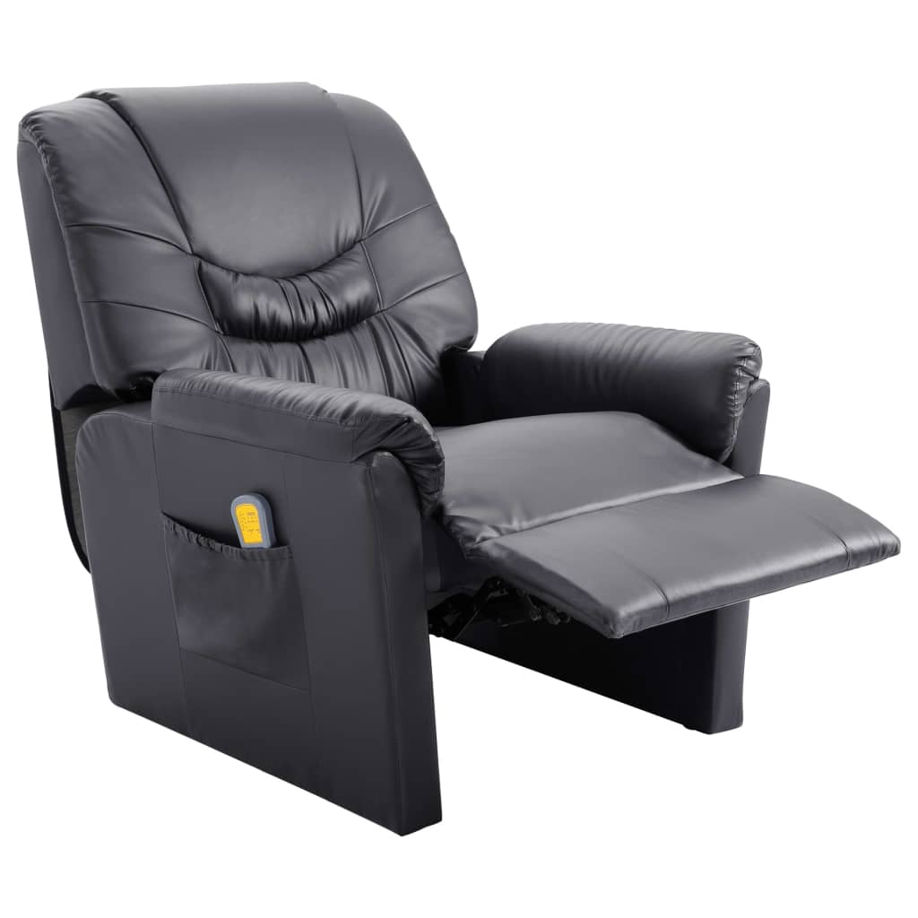Massage Recliner Chair Grey Faux Leather 5