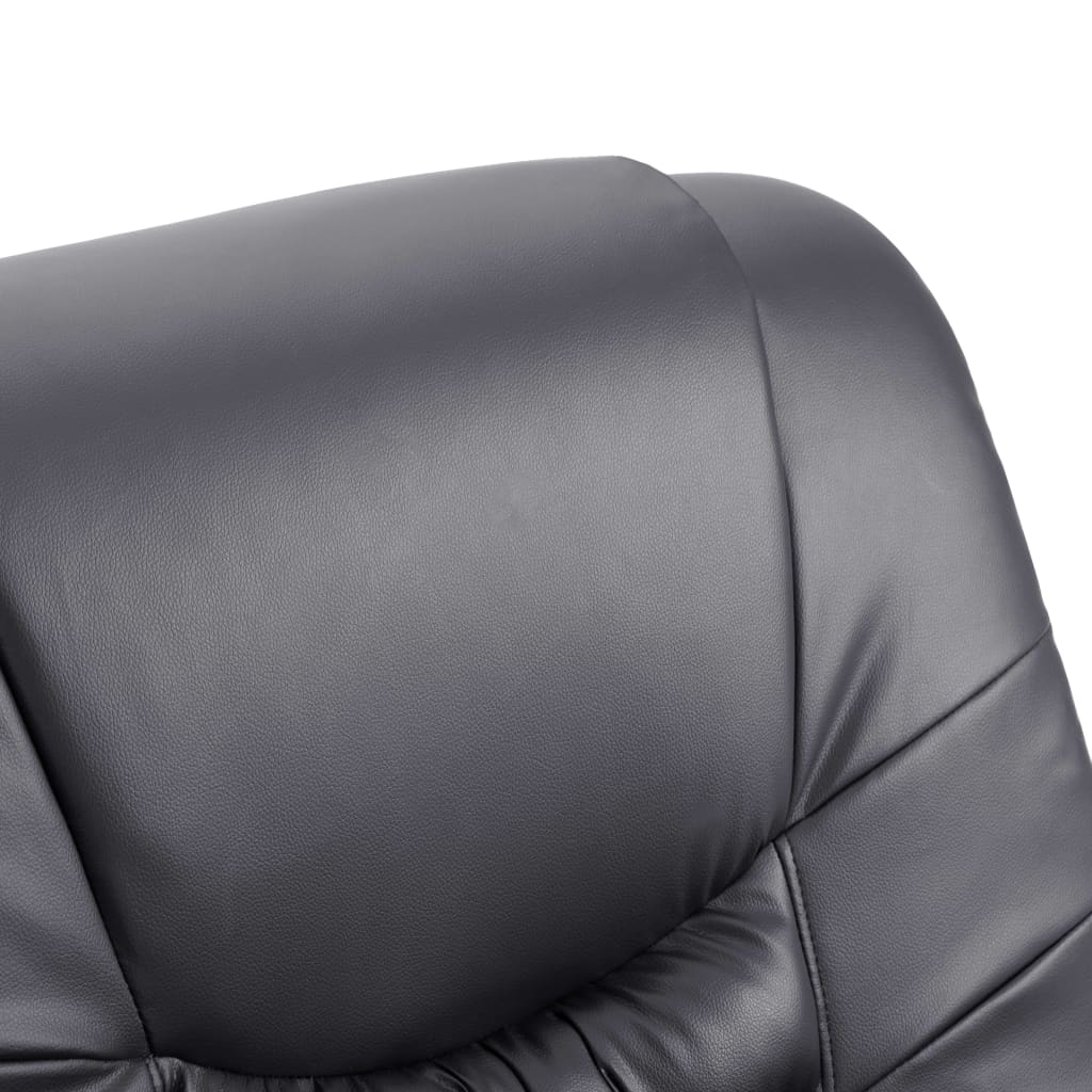 Massage Recliner Chair Grey Faux Leather 8