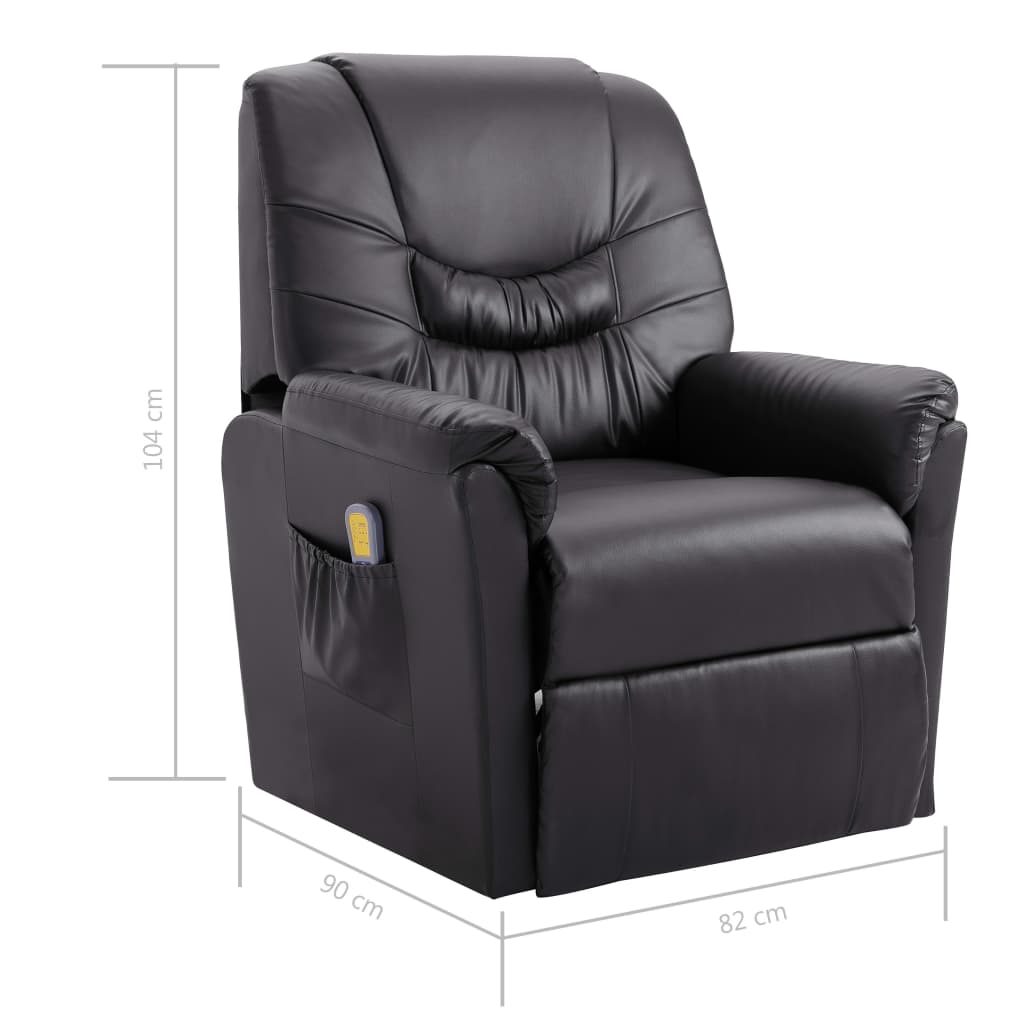 Massage Recliner Chair Grey Faux Leather 9