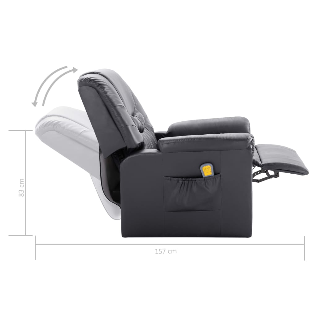 Massage Recliner Chair Grey Faux Leather 10