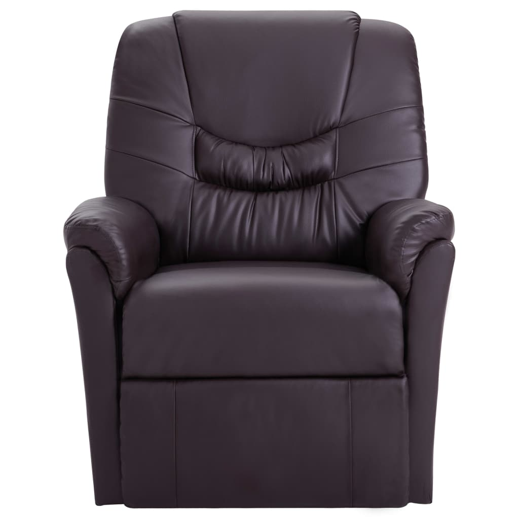 Massage Recliner Chair Brown Faux Leather 2