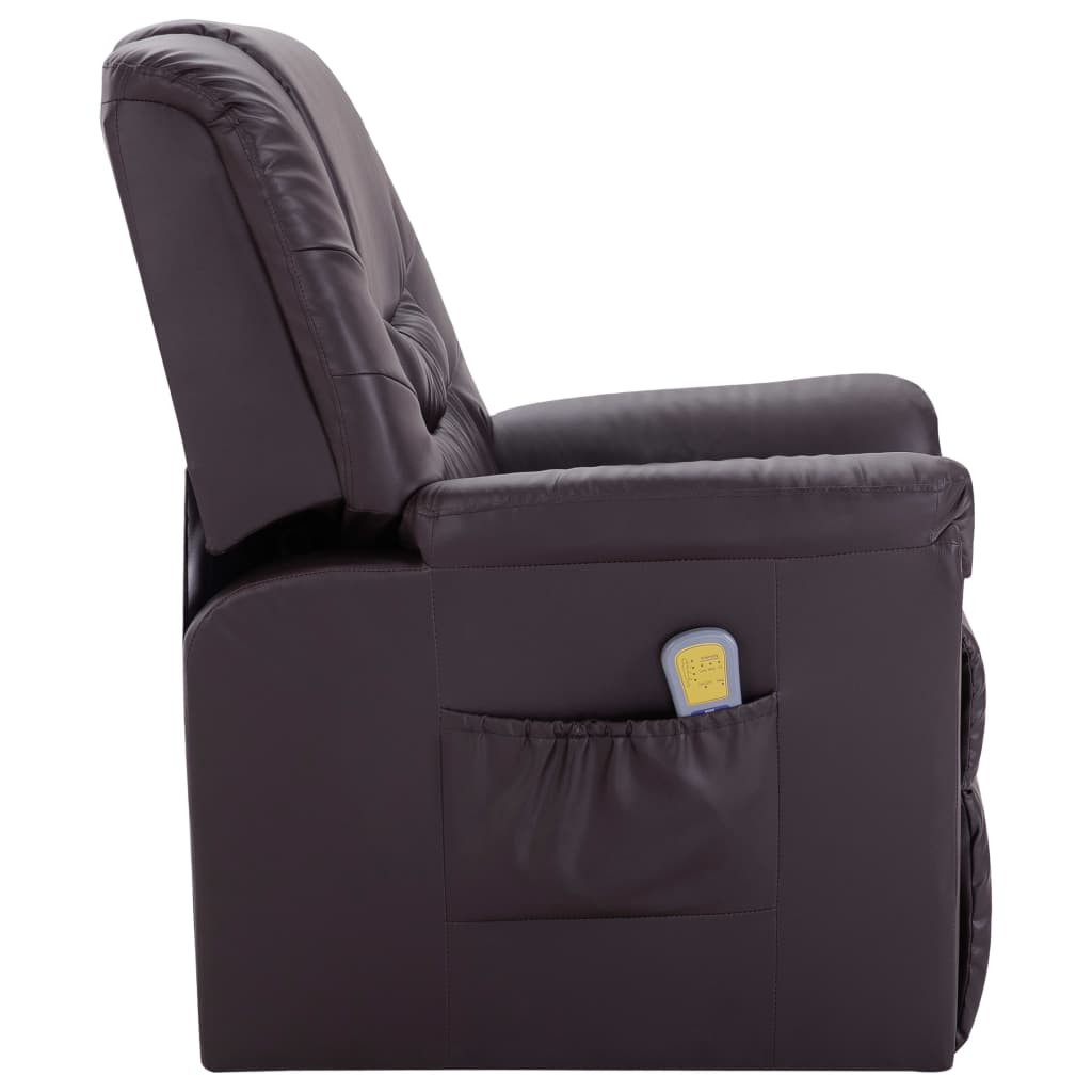 Massage Recliner Chair Brown Faux Leather 3