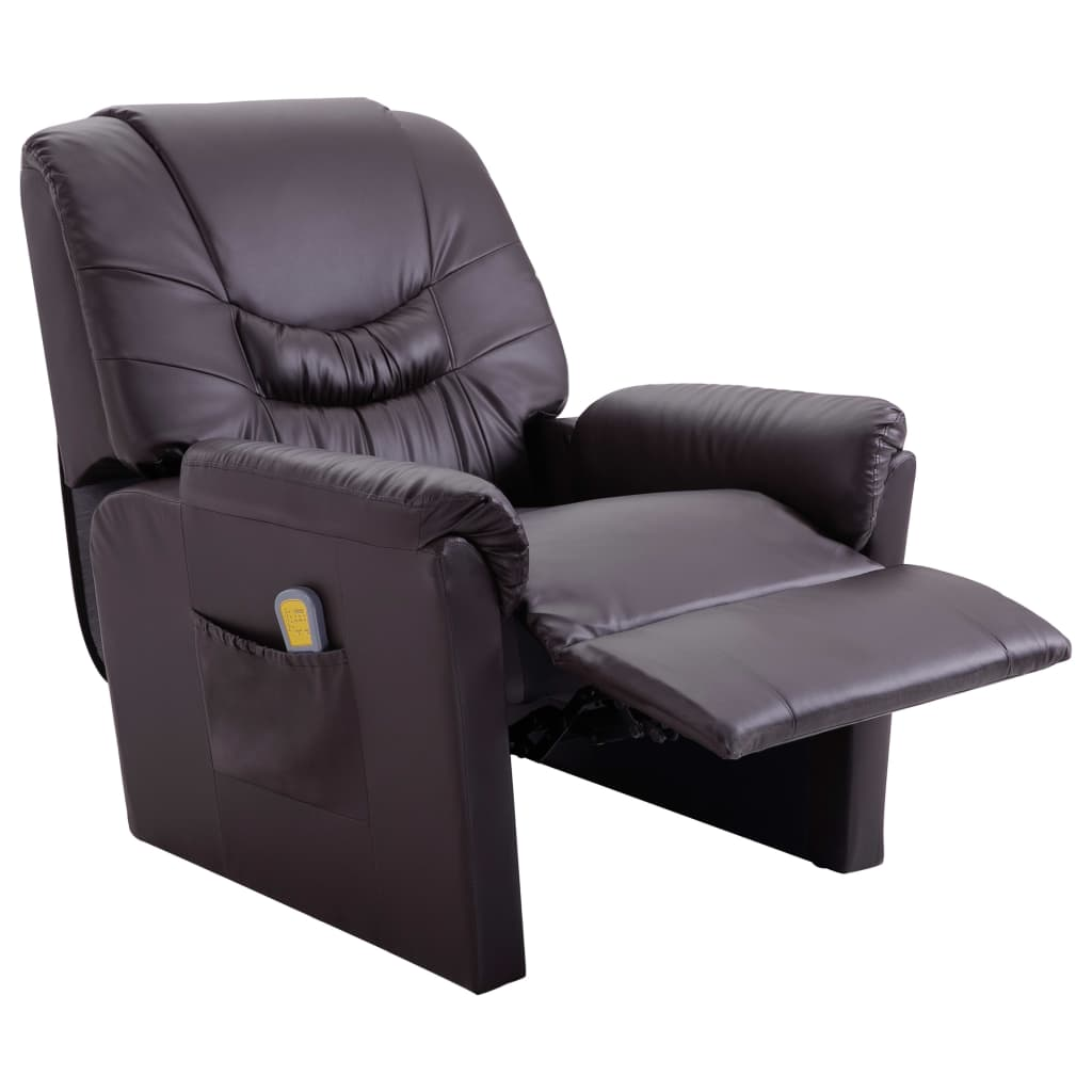 Massage Recliner Chair Brown Faux Leather 5