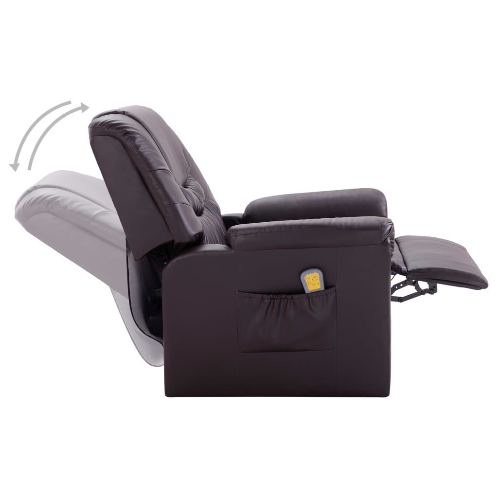Massage Recliner Chair Brown Faux Leather 6