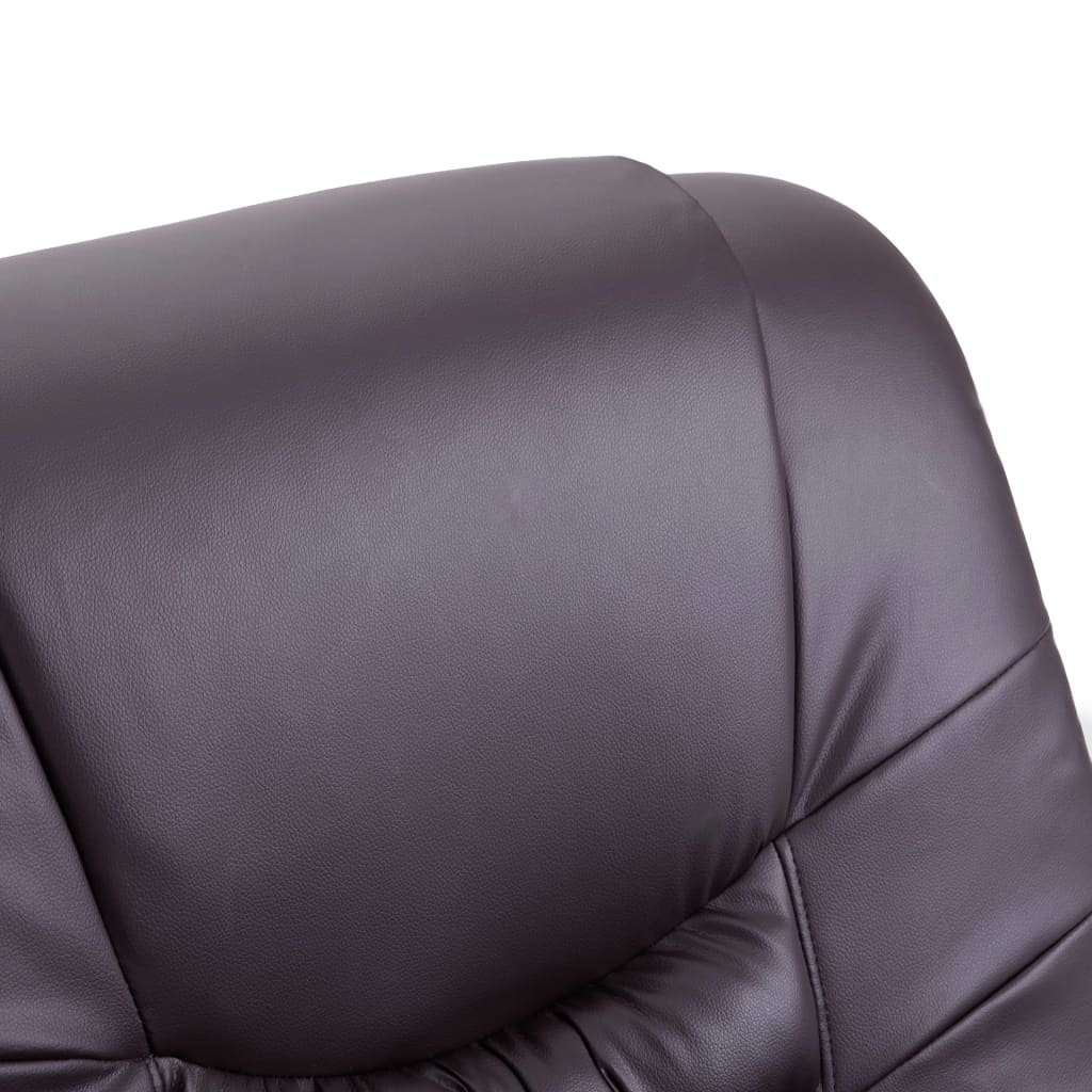 Massage Recliner Chair Brown Faux Leather 8