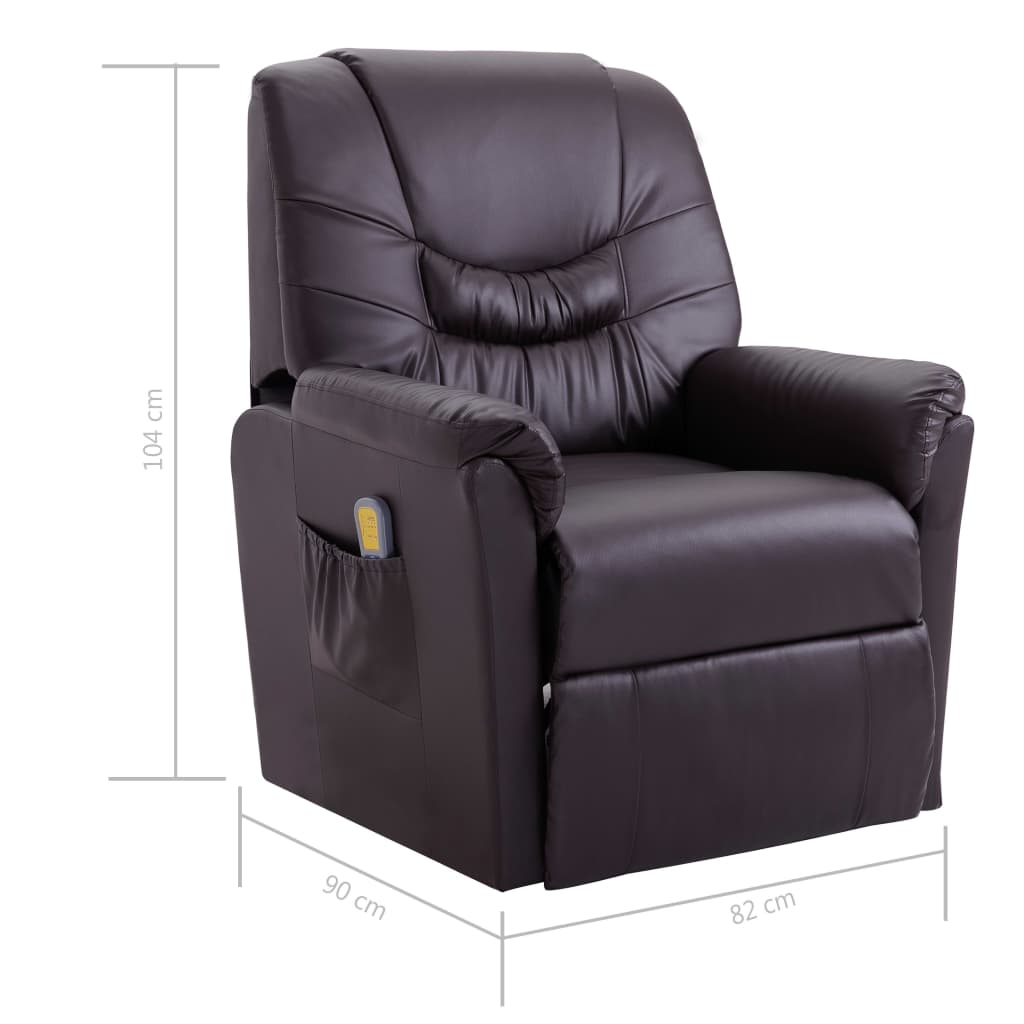 Massage Recliner Chair Brown Faux Leather 9