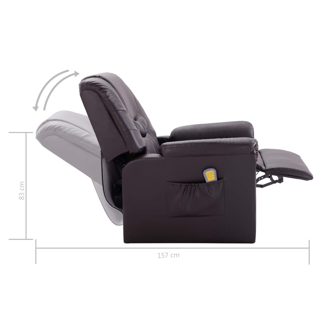 Massage Recliner Chair Brown Faux Leather 10