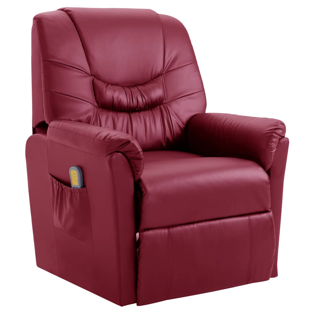 Massage Recliner Chair Wine Red Faux Leather 1