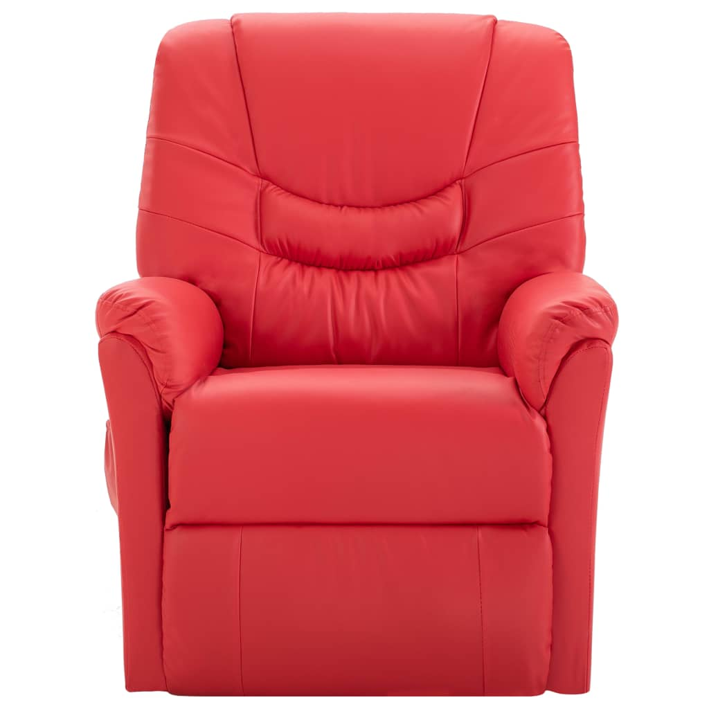 Massage Recliner Chair Red Faux Leather 2