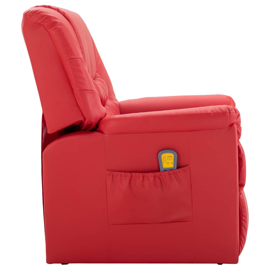 Massage Recliner Chair Red Faux Leather 3