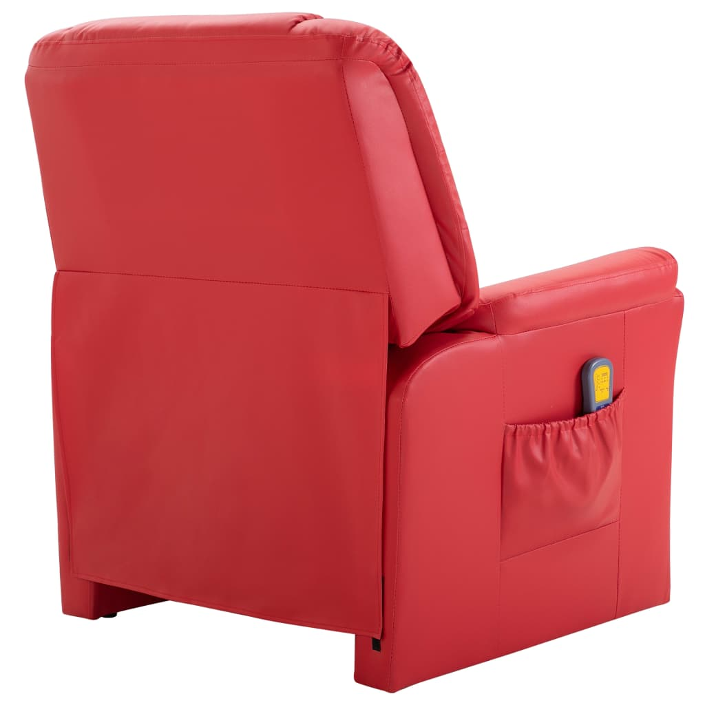 Massage Recliner Chair Red Faux Leather 4