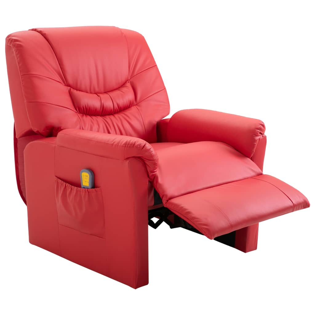 Massage Recliner Chair Red Faux Leather 5