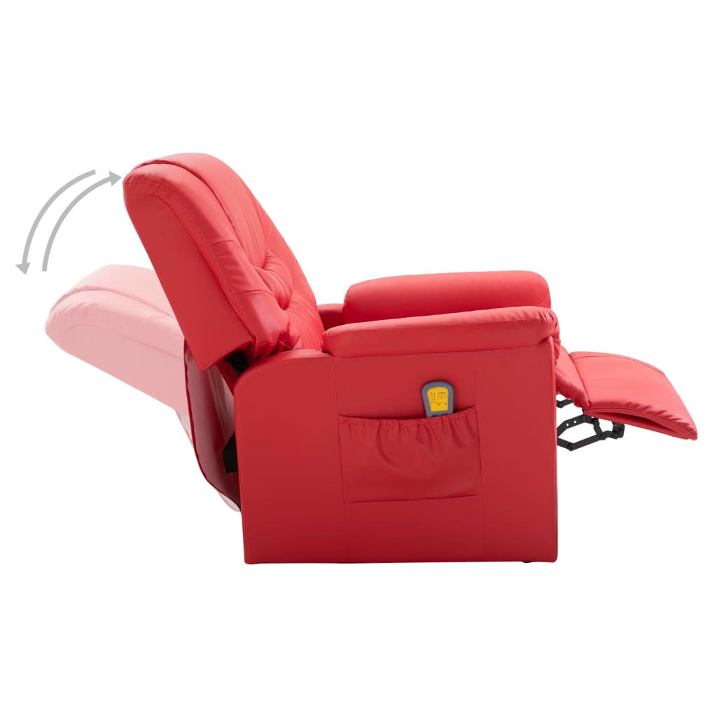 Massage Recliner Chair Red Faux Leather 6