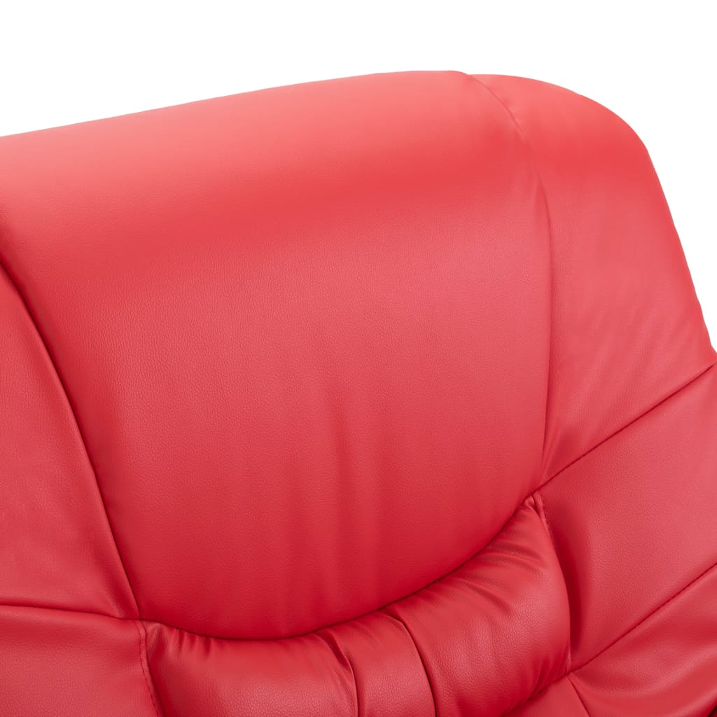 Massage Recliner Chair Red Faux Leather 8