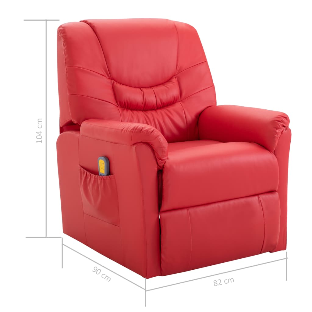 Massage Recliner Chair Red Faux Leather 9