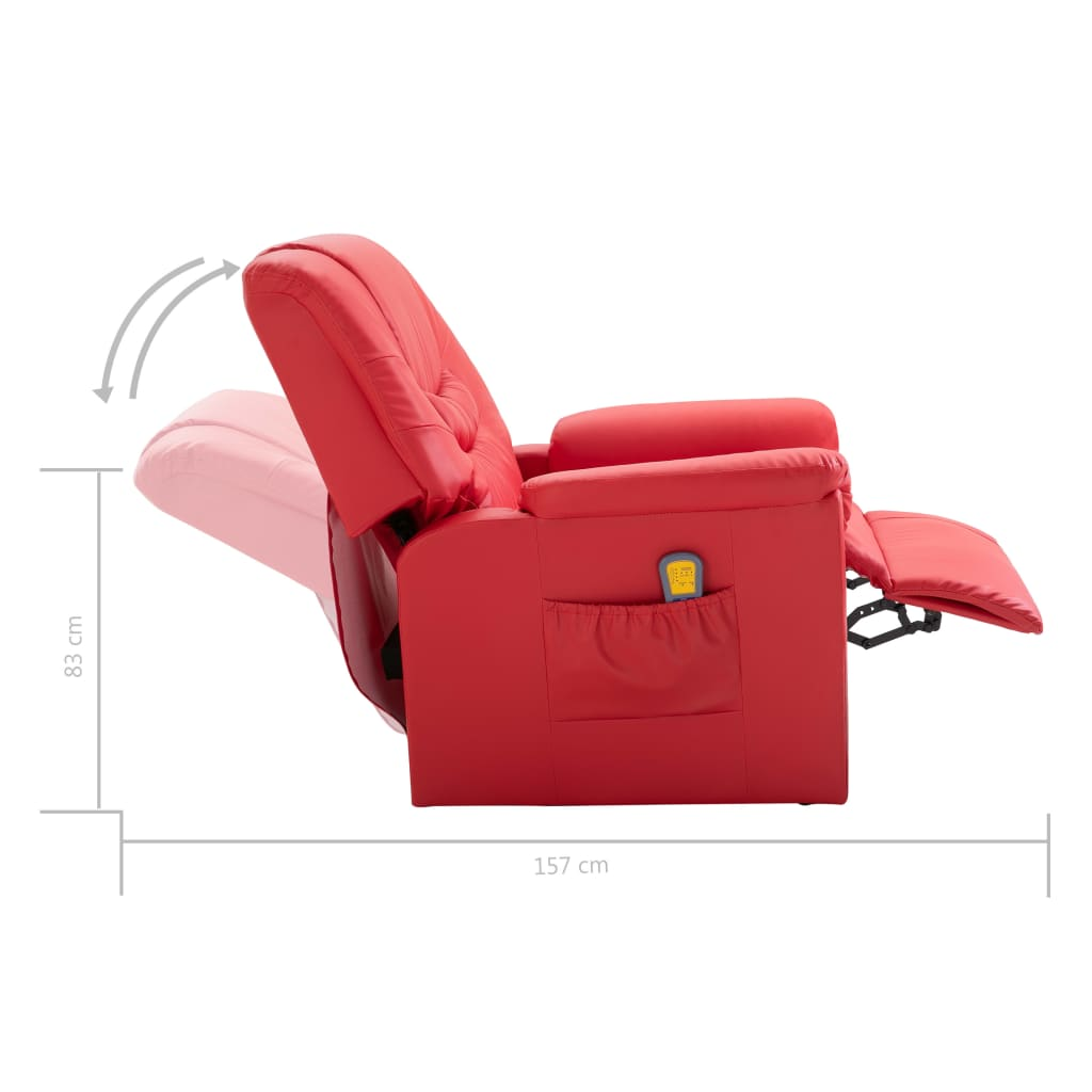 Massage Recliner Chair Red Faux Leather 10