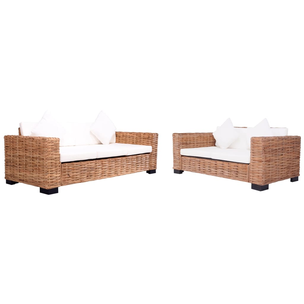 2 Piece Garden Sofa Set with Cushions Natural Rattan 1