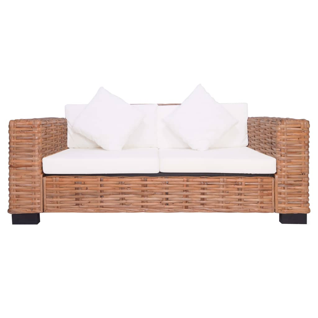 2-Seater Garden Sofa Natural Rattan 3