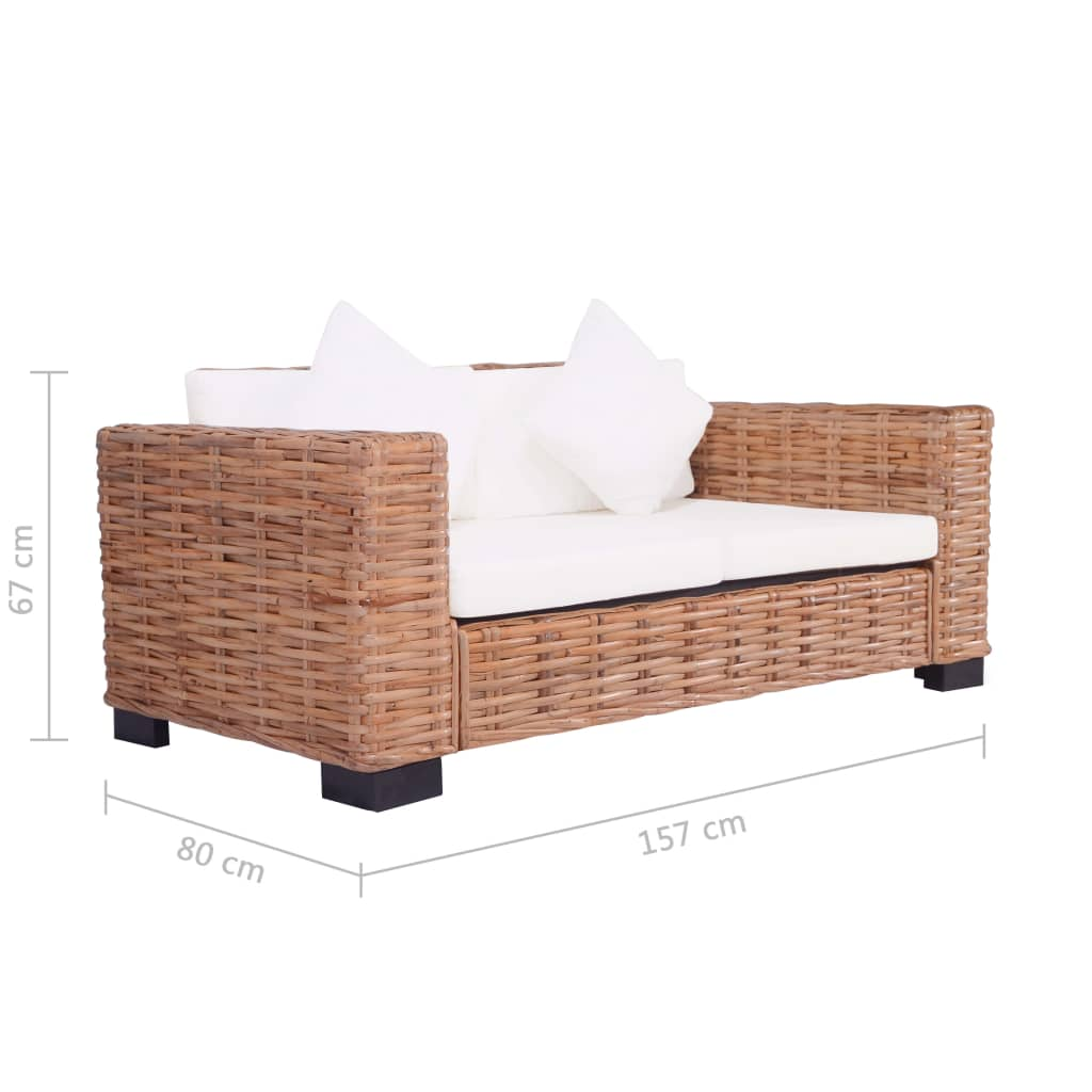 2-Seater Garden Sofa Natural Rattan 6