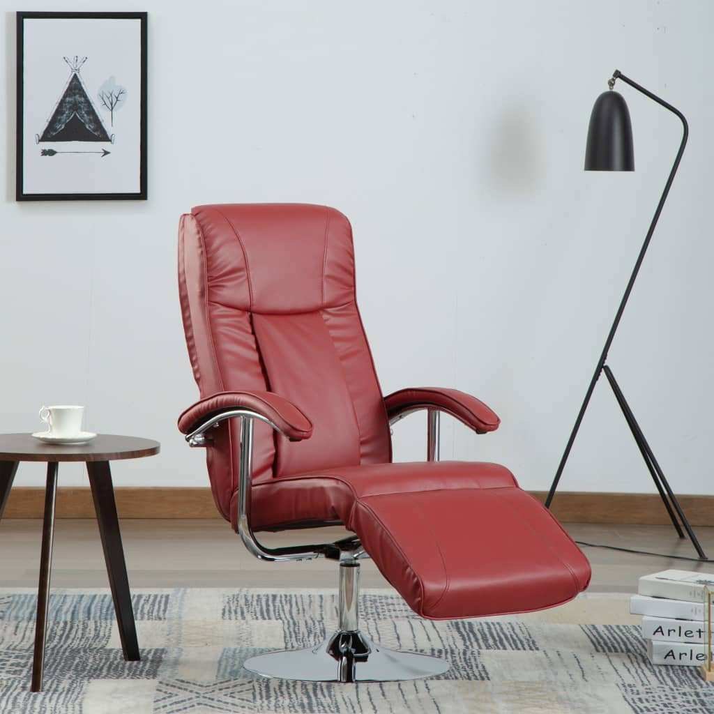 TV Armchair Wine Red Faux Leather