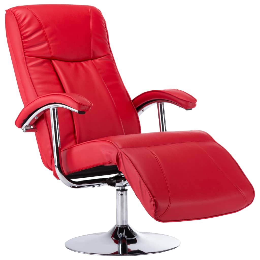 TV Armchair Red Faux Leather 2